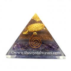 Glow In Dark GID Amethyst Chips Orgone Pyramid With Fengshui / Vastu Tortoise