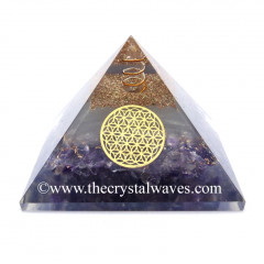 Glow In Dark GID Amethyst Chips Orgone Pyramid With Flower Of Life Star