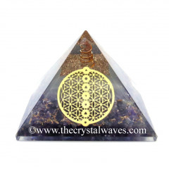 Glow In Dark GID Amethyst Chips Orgone Pyramid With Chakra Flower Of Life