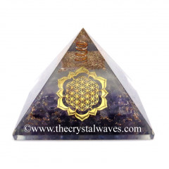 Glow In Dark GID Amethyst Chips Orgone Pyramid With Lotus Flower Of Life