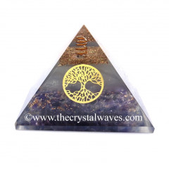 Glow In Dark GID Amethyst Chips Orgone Pyramid With Tree Of Life
