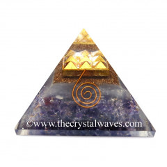 Glow In Dark GID Amethyst Chips Orgone Pyramid With 9 Pyramid Plate