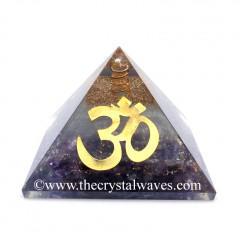 Glow In Dark GID Amethyst Chips Orgone Pyramid With Big Om Symbol