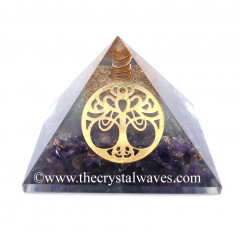 Glow In Dark GID Amethyst Chips Orgone Pyramid With New Tree of Life