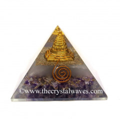 Glow In Dark GID Amethyst Chips Orgone Pyramid With Shreeyantra