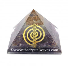 Glow In Dark GID Amethyst Chips Orgone Pyramid With Chakra Cho Ku Rei