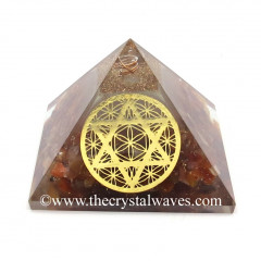 Glow In Dark GID Carnelian Chips Pyramid With Flower Of Life Star Of David