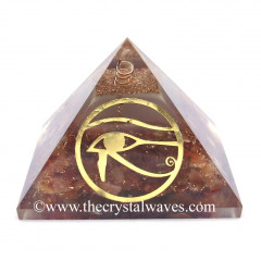 Glow In Dark GID Carnelian Chips Orgone Pyramid With Horus Eye Symbol