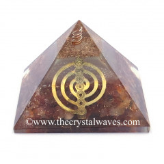 Glow In Dark GID Carnelian Chips Orgone Pyramid With Chakra Cho Ku Rei