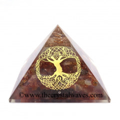 Glow In Dark GID Carnelian Chips Orgone Pyramid With Big Tree Of Life