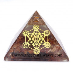 Glow In Dark GID Carnelian Chips Orgone Pyramid With 7 Chakra Metatron's Cube Symbol