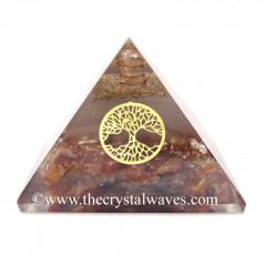 Glow In Dark GID Carnelian Chips Orgone Pyramid With Tree Of Life