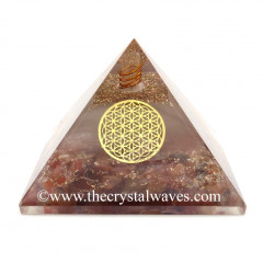 Glow In Dark GID Carnelian Chips Orgone Pyramid With Flower Of Life