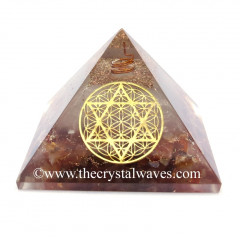 Glow In Dark GID Carnelian Chips Orgone Pyramid With Flower Of Life Star Of David