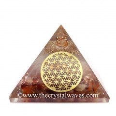 Glow In Dark GID Carnelian Chips Orgone Pyramid With Big Flower Of Life