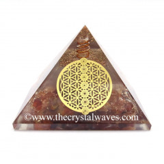 Glow In Dark GID Carnelian Chips Orgone Pyramid With Chakra Flower Of Life