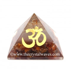 Glow In Dark GID Carnelian Chips Orgone Pyramid With Big Om Symbol
