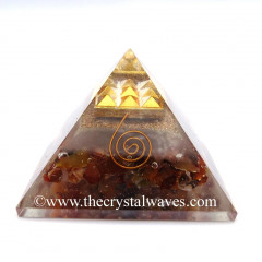 Glow In Dark GID Carnelian Chips Orgone Pyramid With 9 Pyramid Plate