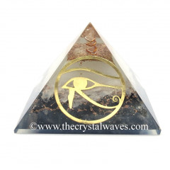Glow In Dark GID Black Tourmaline & Selenite Chips Orgone Pyramid With Horus Eye Symbol