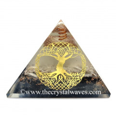Glow In Dark GID Black Tourmaline & Selenite Chips Orgone Pyramid With Big Tree Of Life