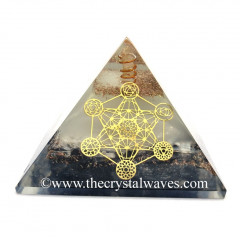 Glow In Dark GID Black Tourmaline & Selenite Chips Orgone Pyramid 7 Chakra Metatron's Cube Symbol