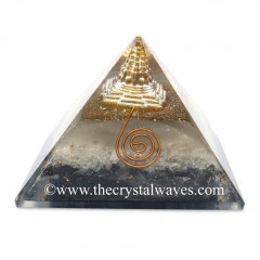Glow In Dark GID Black Tourmaline & Selenite Chips Orgone Pyramid With Shreeyantra