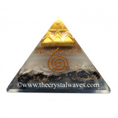Glow In Dark GID Black Tourmaline & Selenite Chips Orgone Pyramid With 9 Pyramid Plate