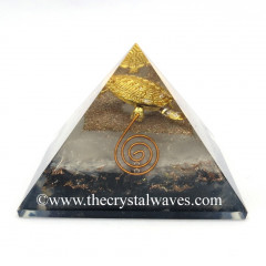 Glow In Dark GID Black Tourmaline & Selenite Chips Orgone Pyramid With Fengshui / Vastu Tortoise
