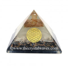 Glow In Dark GID Black Tourmaline & Selenite Chips Orgone Pyramid With Flower Of Life