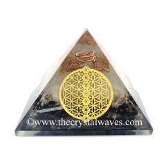 Glow In Dark GID Black Tourmaline & Selenite Chips Orgone Pyramid With Chakra Flower Of Life