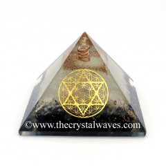 Glow In Dark GID Black Tourmaline & Selenite Chips Orgone Pyramid With Flower Of Life Star Of David