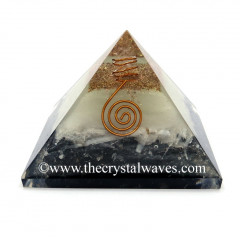 Glow In Dark GID Black Tourmaline & Selenite Chips Orgone Pyramid With Copper Wrrapped Crystal Point