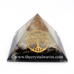 Glow In Dark GID Black Tourmaline & Selenite Chips Orgone Pyramid With Big New Tree  Of Life