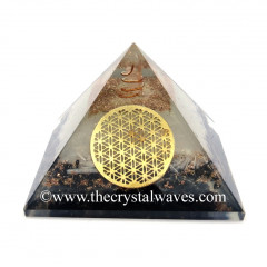 Glow In Dark GID Black Tourmaline & Selenite Chips Orgone Pyramid With Big Flower Of Life