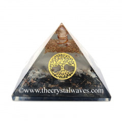 Glow In Dark GID Black Tourmaline & Selenite Chips Orgone Pyramid With Tree Of Life