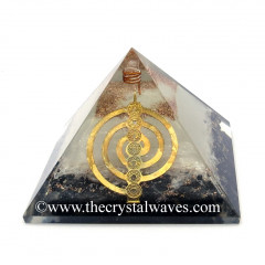 Glow In Dark GID Black Tourmaline & Selenite Chips Orgone Pyramid With Chakra Cho Ku Rei