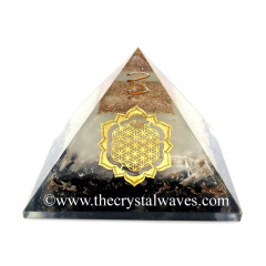 Glow In Dark GID Black Tourmaline & Selenite Chips Orgone Pyramid With Lotus Flower Of Life