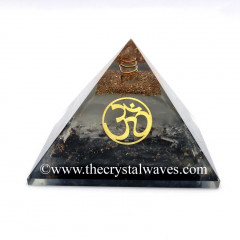 Glow In Dark GID Black Tourmaline & Selenite Chips Orgone Pyramid With Om