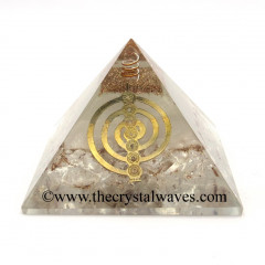 Glow In Dark GID Crystal Quartz Chips Orgone Pyramid With Chakra Cho Ku Rei