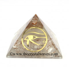Glow In Dark GID Crystal Quartz Chips Orgone Pyramid With Horus Eye Symbol