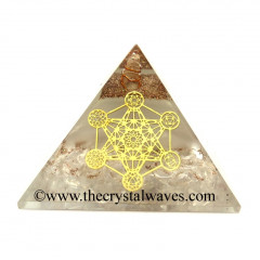 Glow In Dark GID Crystal Quartz Chips Orgone Pyramid 7 Chakra Metatron's Cube Symbol