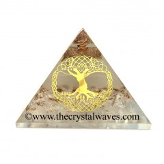 Glow In Dark GID Crystal Quartz Chips Orgone Pyramid With Big Tree Of Life