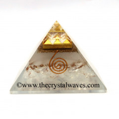 Glow In Dark GID Crystal Quartz Chips Orgone Pyramid With 9 Pyramid Plate