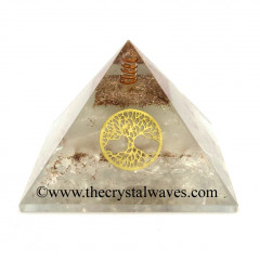 Glow In Dark GID Crystal Quartz Chips Orgone Pyramid With Tree Of Life