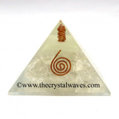 Glow In Dark GID Crystal Quartz Chips Orgone Pyramid With Copper Wrrapped Crystal Point