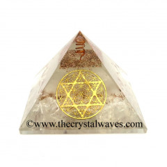 Glow In Dark GID Crystal Quartz Chips Orgone Pyramid With Flower Of Life Star Of David
