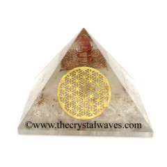 Glow In Dark GID Crystal Quartz Chips Orgone Pyramid With Big Flower Of Life