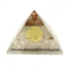 Glow In Dark GID Crystal Quartz Chips Orgone Pyramid With Flower Of Life