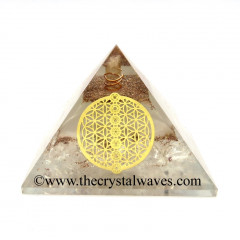 Glow In Dark GID Crystal Quartz Chips Orgone Pyramid With Chakra Flower Of Life