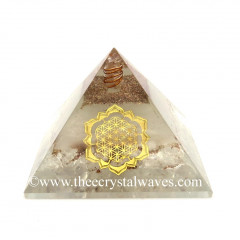 Glow In Dark GID Crystal Quartz Chips Orgone Pyramid With Lotus Flower Of Life